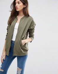 Asos The Ultimate Bomber Jacket In Jersey Khaki Green