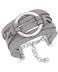 Inc International Concepts Silver Tone Faux Leather Wrap Bracelet Only At Macy's Grey