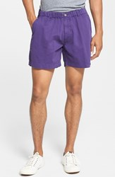 Men's Vintage 1946 'Snappers' Vintage Washed Elastic Waistband Shorts Purple