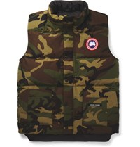 Canada Goose Freestyle Caouflage Print Quilted Shell Down Gilet Green