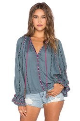 Pia Pauro Long Sleeve Embroidered Peasant Top Gray
