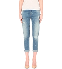 Mih Jeans Cropped Rip Slouch Rise Jeans Sabi Wash Indigo