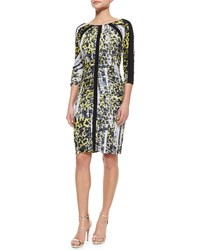 Carmen Marc Valvo 3 4 Sleeve Leopard Print Ruched Dress Size 4 Yellow