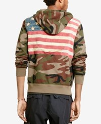 Denim And Supply Ralph Lauren Men's Camo Flag Zip Front French Terry Hoodie With Pockets