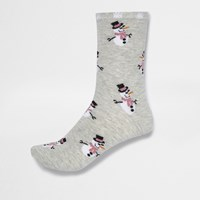River Island Womens Grey Smug Snowman Print Socks