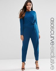 Asos Curve Peg Leg Jumpsuit With Twist Front Navy