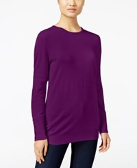 Jm Collection Crew Neck Button Cuff Sweater Only At Macy's Magenta Quartz