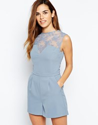 Warehouse Mesh Lace Playsuit Lightgrey