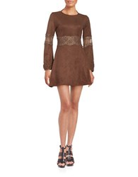Design Lab Lord And Taylor Faux Suede Long Sleeve Fit Flare Dress Aztec