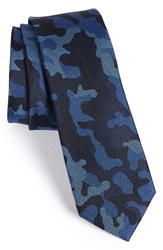 The Tie Bar Camo Silk Tie Online Only Blue Black