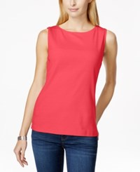 Karen Scott Sleeveless Boat Neck Tank Top Only At Macy's Pink Twist