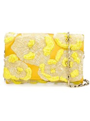 Oscar De La Renta Floral Bead Clutch Yellow And Orange