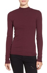 Women's Bp. Rib Knit Mock Neck Tee Burgundy Stem
