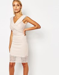 Lipsy Crossover Front Cutwork Lace Pencil Dress Nude Pink