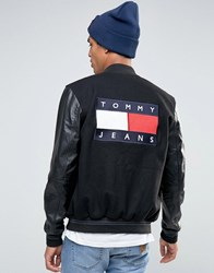 Tommy Jeans Varsity Wool Bomber Faux Leather Sleeves 90S Black