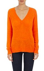 Barneys New York Women's V Neck Sweater Orange