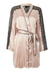 Lipsy Lace Trim Silky Robe Pink