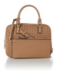 Marella Tan Small Woven Cross Body With Wristlet Tan
