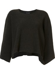 Isabel Benenato Three Quarter Sleeve Jumper Brown