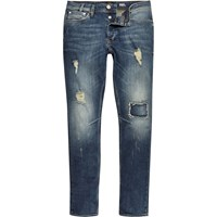 River Island Mens Mid Blue Wash Ripped Sid Skinny Stretch Jeans
