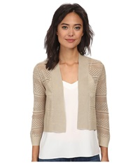 Rsvp Bre Crochet Shrug Taupe Women's Sweater