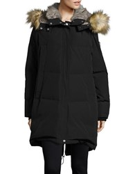 Vince Camuto Straight Fit Faux Fur Hooded Fill Jacket Black