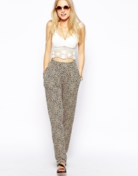 Asos Harem Trousers In Mini Sunflower Print Multi