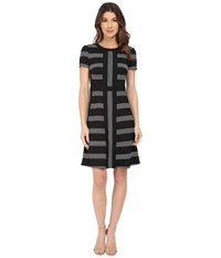 Maggy London Pucker Stripe Fit And Flare Dress Black White Women's Dress