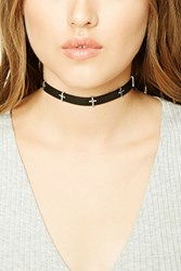 Forever 21 Faux Leather Cross Choker