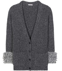 Christopher Kane Oversized Wool And Alpaca Blend Cardigan Grey