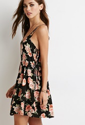 Forever 21 Floral Lace Up Babydoll Dress Black Pink