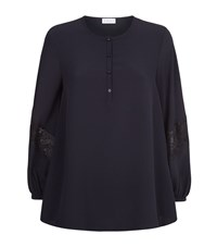 Claudie Pierlot Berangere Lace Sleeve Blouse Female Blue