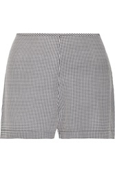 Equipment Lewis Gingham Silk Twill Shorts Black