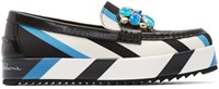 Dolce And Gabbana Tricolor Embellished And Striped Loafers