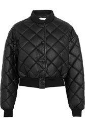 Stella Mccartney Marisa Cropped Quilted Faux Leather Bomber Jacket Black