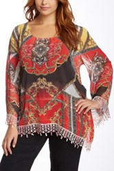 Sienna Rose Kaftan Sleeve Blouse Plus Size Multi