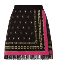 Juicy Couture Embroidered Wrap Skirt Female Black