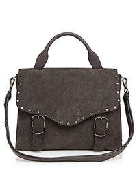 Rebecca Minkoff Biker Suede Doctor Satchel New Grey Gunmetal