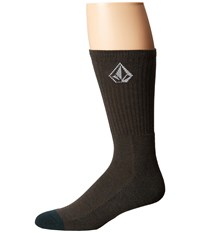 Volcom Full Stone Heather Socks Expedition Green Men's Crew Cut Socks Shoes Olive