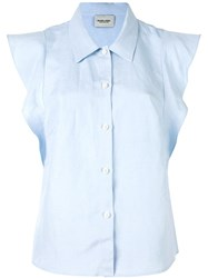 Rachel Comey Ruffle Sleeve 'Laurel' Shirt Blue