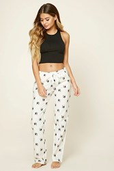 Forever 21 Holiday Dog Graphic Pj Pants White Pink