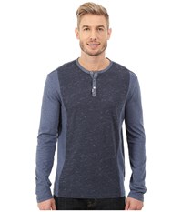 Calvin Klein Jeans L S Henley Color Blocked Blue Cap Heather Men's Long Sleeve Pullover Black