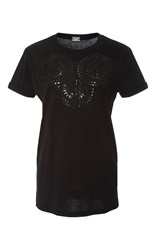 Alexis Mabille Black Applique Embroidered Tee