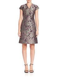 Josie Natori Jacquard A Line Dress Multi