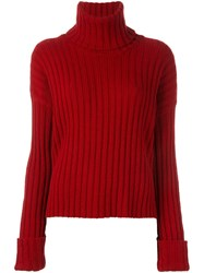 Nude Ribbed Roll Neck Jumper Red