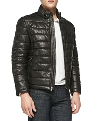 Andrew Marc New York Quilted Leather Jacket Black