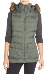 The North Face Women's 'Nitchie' Water Resistant Down Vest With Faux Fur Trim Oscar Green