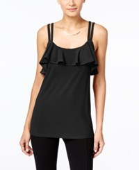 Inc International Concepts Petite Ruffle Tank Only At Macy's Deep Black