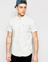 Bellfield Short Sleeve Shirt With Washed Aztec Print Lightblue