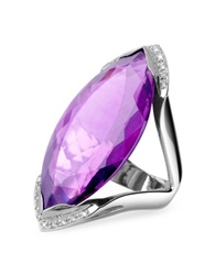 Forzieri Amethyst And Diamond White Gold Fashion Ring Purple